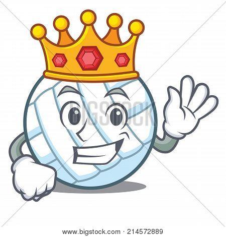 King volley ball character cartoon vector illustration