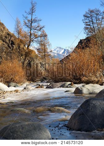 Sunny autumn mountain valley with a river stream and shores with yellow dry grass on the background of snow peaks and ice glacier cloudy sky. Ice almost got up.