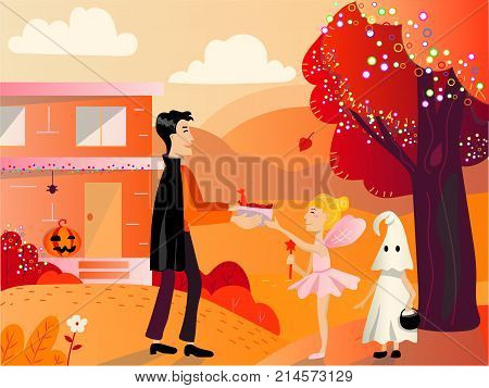 Halloween background with children trick or treating in Halloween costume. Child in ghost costume on helloween playing trick or treat