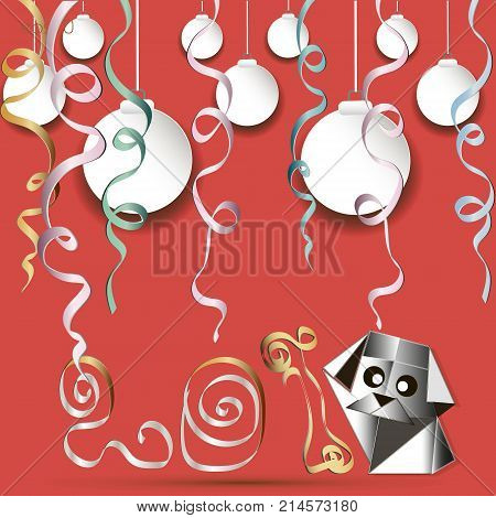 Greeting Card Year of the Dog Picture in style an object from a paper digit to a serpentine balls small doggie big eyes vector illustration