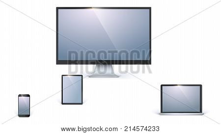 Icons of blank electronic devices with white screens isolated on white background. Desktop computer monitor, opened laptop, tablet and mobile smart phone.