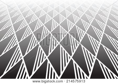 Geometric diamonds and triangles pattern. Diminishing perspective view. Textured background. Vector art.