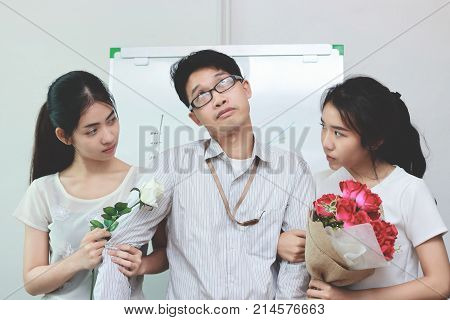 Vintage toned image of complicated relationship between three people. Love triangle concept.