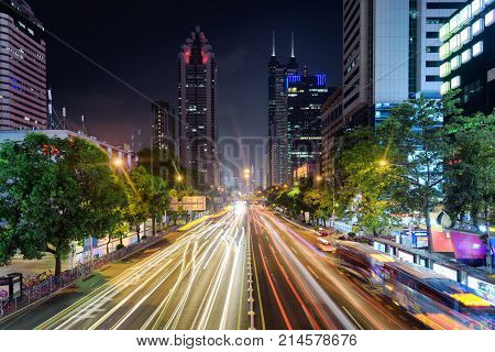 Night View Of Shennan East Road And Skyscrapers In Shenzhen