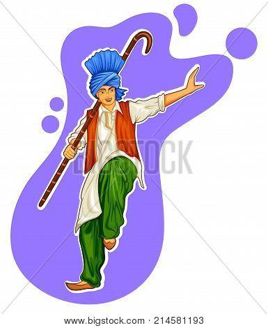 illustration of Sikh Punjabi Sardar doing bhangra dance on holiday like Lohri or Vaisakhi