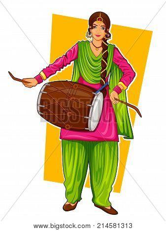 illustration of Sikh Punjabi Sardar woman playing dhol and dancing bhangra on holiday like Lohri or Vaisakhi