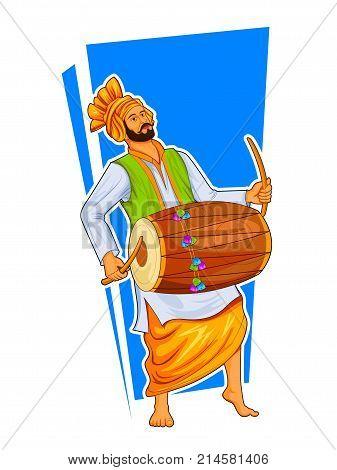 illustration of Sikh Punjabi Sardar playing dhol and dancing bhangra on holiday like Lohri or Vaisakhi