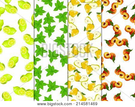 Sweet juicy whole and slice lemon or lime, mint, mojito, pear and peach fruit symbol for jam and juice product label or grocery store, shop and farm market design. jam, sauce or juice label