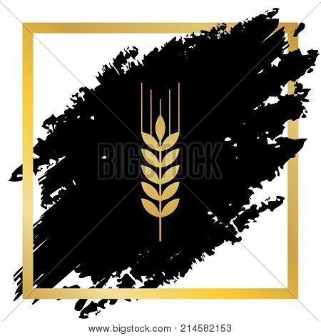 Wheat sign illustration. Spike. Spica. Vector. Golden icon at black spot inside golden frame on white background.