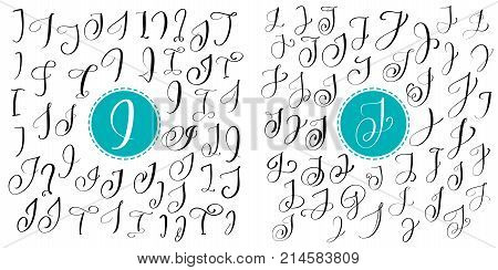 Set letter I, J. Hand drawn vector flourish calligraphy. Script font. Isolated letters written with ink. Handwritten brush style. Hand lettering for logos packaging design poster.