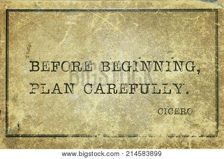 Plan Before Cicero