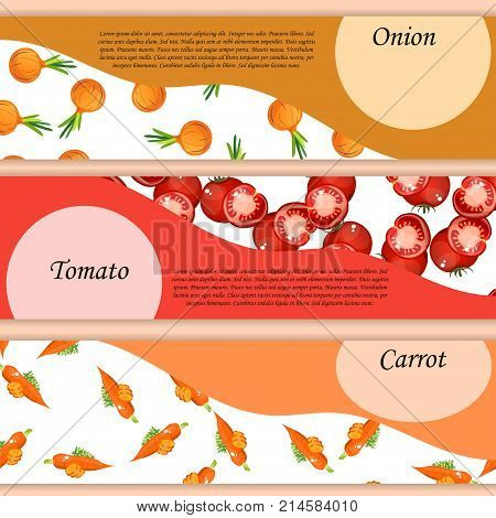 Abstract vector banner or label for whole and slice ripe vegetable round onion, tomatoes and carrot. Seamless Onion pattern on label vegetables ripe sweet food. Organic collection