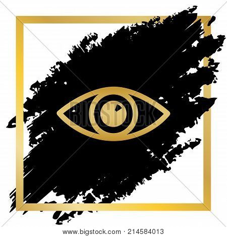 Eye sign illustration. Vector. Golden icon at black spot inside golden frame on white background.