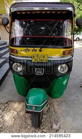 Tuk Tuk Taxi On Street In Jaipur, India