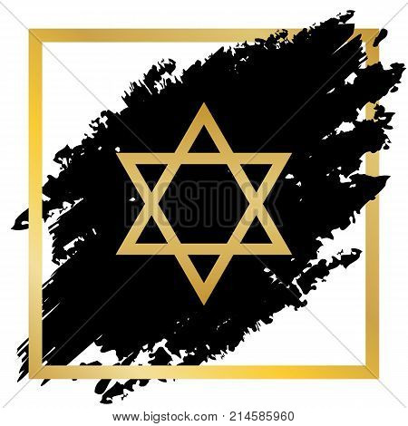 Shield Magen David Star. Symbol of Israel. Vector. Golden icon at black spot inside golden frame on white background.