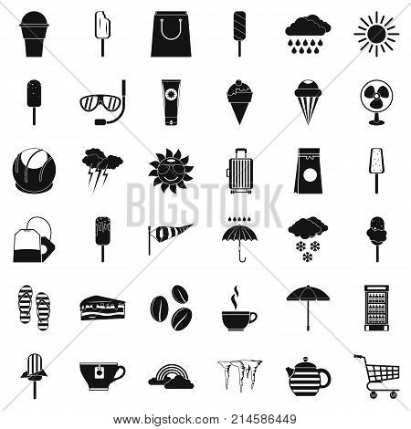 Suitcase icons set. Simple style of 36 suitcase vector icons for web isolated on white background