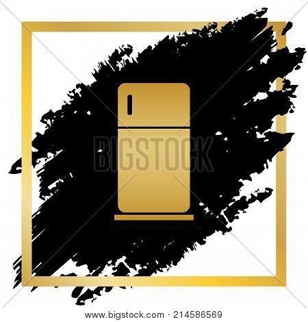 Refrigerator sign illustration. Vector. Golden icon at black spot inside golden frame on white background.