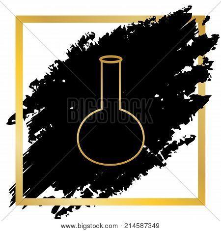 Tube. Laboratory glass sign. Vector. Golden icon at black spot inside golden frame on white background.
