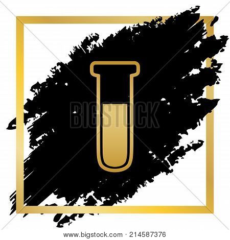Medical Tube icon. Laboratory glass sign. Vector. Golden icon at black spot inside golden frame on white background.