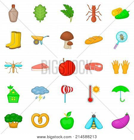 Physical work icons set. Cartoon set of 25 physical work vector icons for web isolated on white background