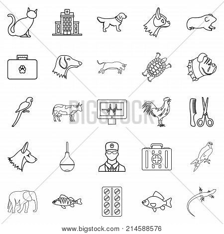 Treat the animal icons set. Outline set of 25 treat the animal vector icons for web isolated on white background