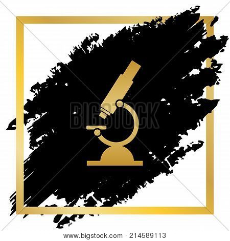 Chemistry microscope sign for laboratory. Vector. Golden icon at black spot inside golden frame on white background.