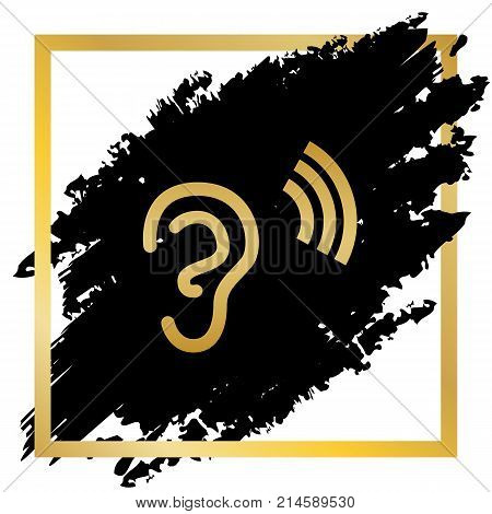 Human anatomy. Ear sign with soundwave. Vector. Golden icon at black spot inside golden frame on white background.