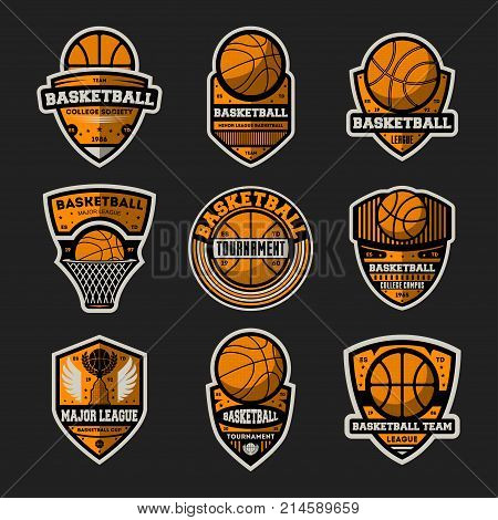 Basketball tournament vintage isolated label set. Basketball major league, championship symbol, sport colleague society icon, athletic camp logo. Basketball team badge collection vector illustration