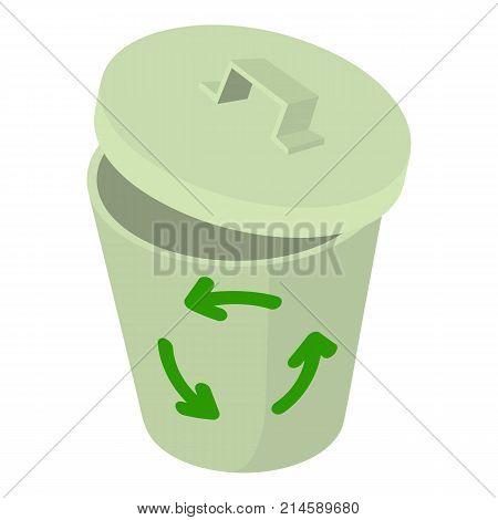 Trash bin icon. Isometric illustration of trash bin vector icon for web