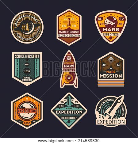 Mars mission retro isolated label set. Space expedition badge, scientific odyssey symbol, modern spacecraft flying, martian discovery vector illustration. Planet colonization vintage sign collection.