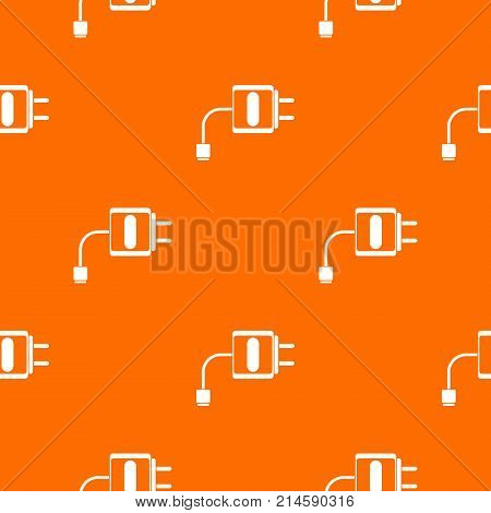 Mini charger pattern repeat seamless in orange color for any design. Vector geometric illustration