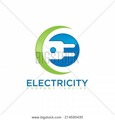 3D style electric logo. Connection of electric devices.Gradient color logo. Vector illustration.