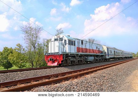 Train of Indonesian, Train Transportation, Train on rail, Jogja City | Train of Asian