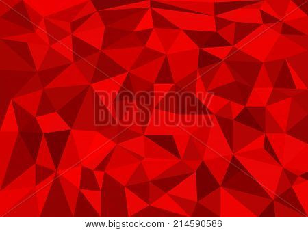 Red abstract texture background with triangle shapes colored