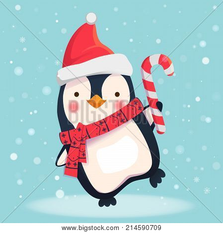 Penguin cartoon illustration. Penguin with christmas candy