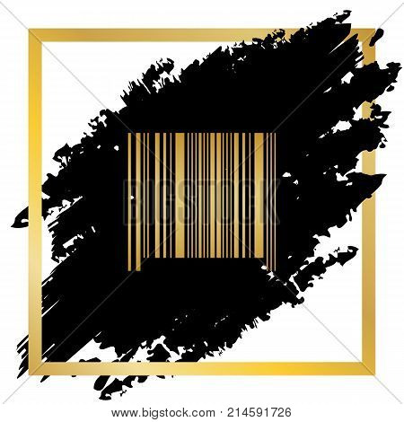 Bar code sign. Vector. Golden icon at black spot inside golden frame on white background.