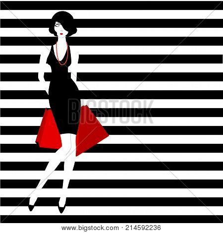 Stripped Background Fashion Girl