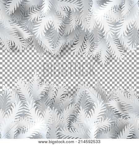 White paper art cut out fir branches on transparent background. Christmas tree branches with the top and bottom of the picture. Isolated on white background. Vector illustration. Vintage style banner