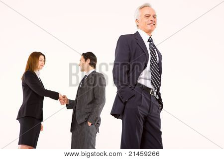two businessman and one businesswoman in white background
