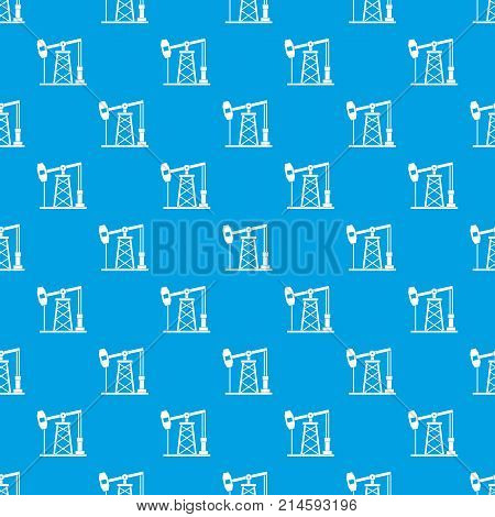 Oil derrick pattern repeat seamless in blue color for any design. Vector geometric illustration