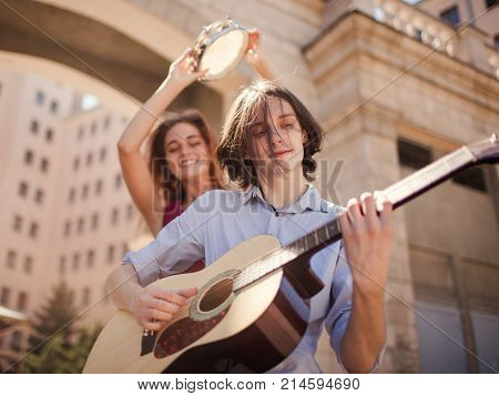 indie folk street performers lifestyle. freedom subculture independent alternative music. singing and dancing. having fun concept