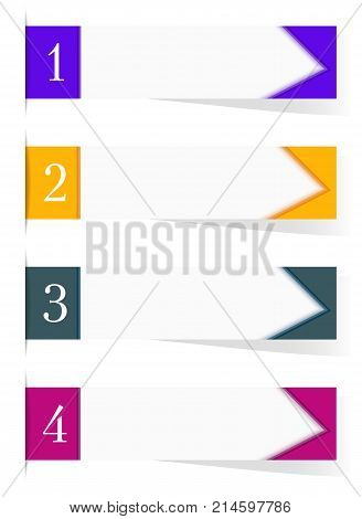 Four sticker labels with shadow and text space. Purple, orange, green, magenta templates for headers, banners, pointers. White background, paper sticky tape. Vector EPS10