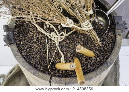 Roasted coffee bean in wood bucket stock photo