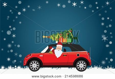 Funny Santa Claus is driving a red car with tree and gifts on the top on Christmas landscape Merry Christmas Winter vector illustration.