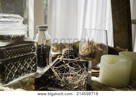 Seed and dry herbs room decoration stock photo