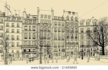 France - Paris - Place Dauphine vector illustration