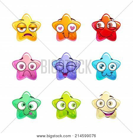 Cartoon colorful glossy star characters set. Vector emoticons icons, isolated on white background.