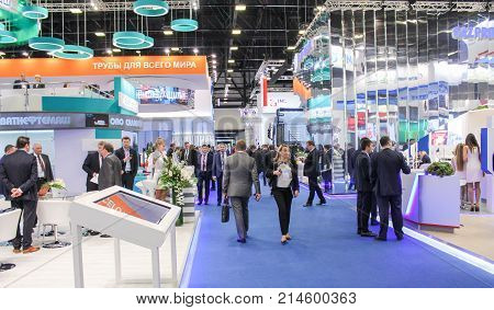 St. Petersburg, Russia - 3 October, The working day of the business forum, 3 October, 2017. Participants and visitors of the annual St. Petersburg Gas Forum.