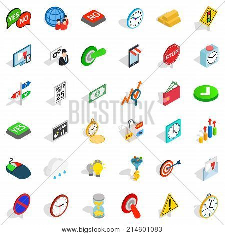 Switch off icons set. Isometric style of 36 switch off vector icons for web isolated on white background