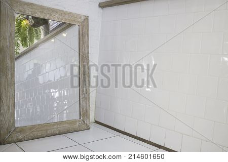Minimal style interior decorated with mirror stock photo